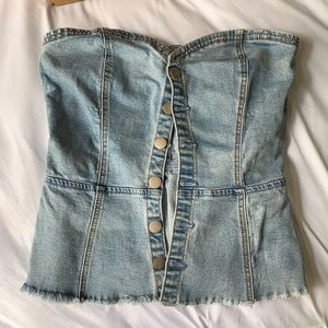 NWT By The Way Denim Corset w/ Buttons